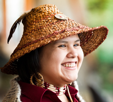 Storyteller Roxy Lewis – Photo credit: Robin O'Neill, Courtesy of Squamish Lil'wat Cultural Centre.