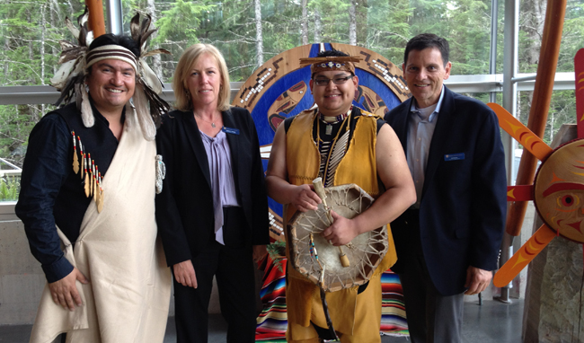 Squamish Nation Chief Ian Campbell, Kathleen Manuel, executive directorm procurement, Rocky Mountaineer, Lil'wat Nation Josh Anderson and Ed Baklor, executive vice president, guest services, Rocky Mountaineer